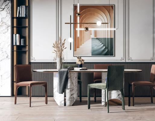 北歐輕奢餐桌椅組合3D模型【ID:751164158】