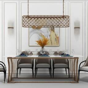 欧式餐桌椅组合3D模型【ID:831775833】