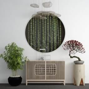新中式实木端景台玄关柜 3D模型【ID:142174018】