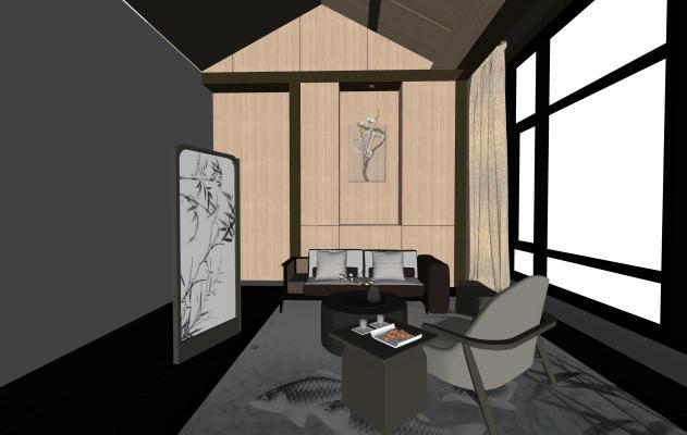 现代办公室SU模型【ID:345952129】