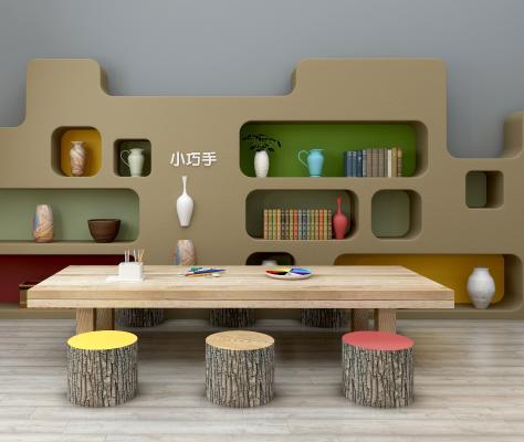 北欧儿童桌椅装饰柜玩具组合3D模型【ID:930556347】