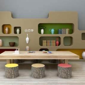 北欧儿童桌椅装饰柜玩具组合365彩票【ID:930556347】