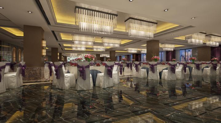 现代酒店多功能宴会厅3D模型【ID:753347206】
