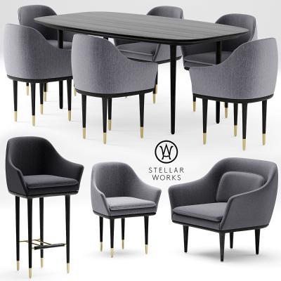 后現代餐桌椅国外3D模型【ID:730620198】