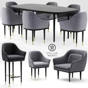 后现代餐桌椅国外3D模型【ID:730620198】
