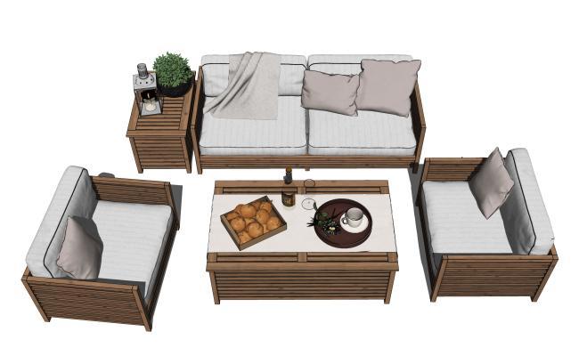 现代户外沙发茶几组合SU模型【ID:453901176】