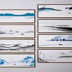 新中式山水风景挂画装饰画组合3D模型【ID:249348930】