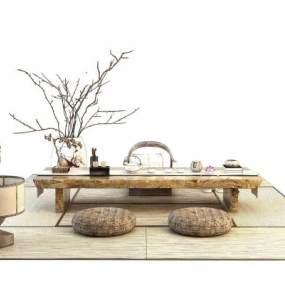 新中式茶桌椅组合3D模型【ID:936043596】