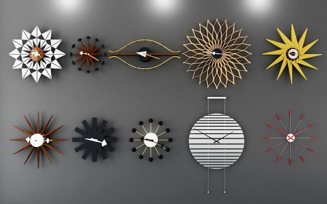 现代时钟挂钟墙饰3D模型【ID:334745335】