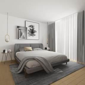 北欧双人床吊灯床头柜组合3D模型【ID:842472785】