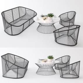 现代休闲桌椅组合3D模型【ID:845533935】