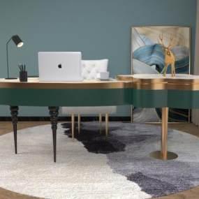 后现代轻奢办公桌3D模型【ID:948899122】