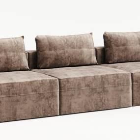 现代绒布实木沙发3D模型【ID:634688651】