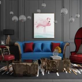 后现代皮革沙发休闲椅组合 3D模型【ID:641388784】