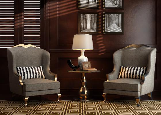 欧式沙发椅3D模型【ID:632251474】