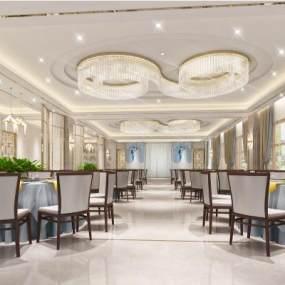 新中式餐廳3D模型【ID:644581216】