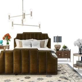新中式床具组合3D模型【ID:653087103】