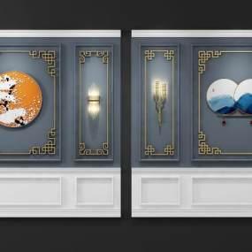 新中式雕花花格背景墙3D模型【ID:233473750】