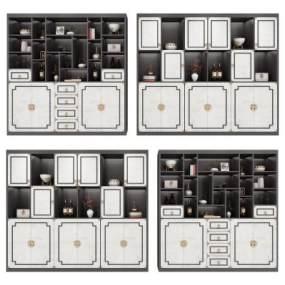 新中式装饰柜组合3D模型【ID:134730168】