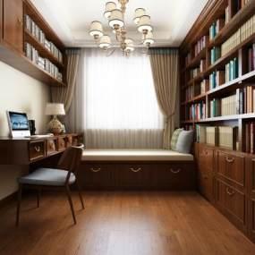 美式书房3D模型【ID:542554496】