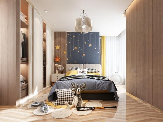 现代男孩房 卧室 吊灯 儿童床