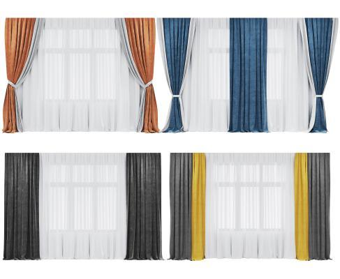 现代窗帘组合3D模型【ID:252807665】