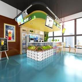 现代饮品店3D模型【ID:632964404】