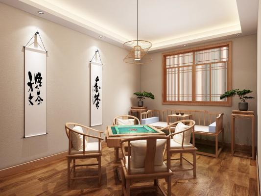 中式茶室包廂3D模型【ID:845293744】
