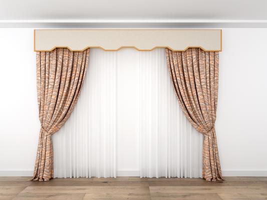 新古典窗帘3D模型【ID:235116666】