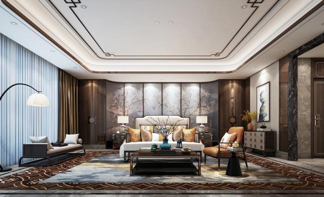 新中式奢华主卧室3D模型【ID:541412266】