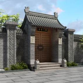 中式古建门头3D模型【ID:231516196】