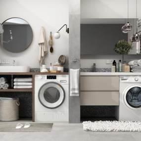 现代卫浴洗手台组合3D模型【ID:131780840】