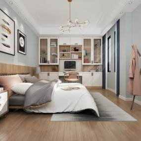 北欧小清新卧室3D模型【ID:543561234】