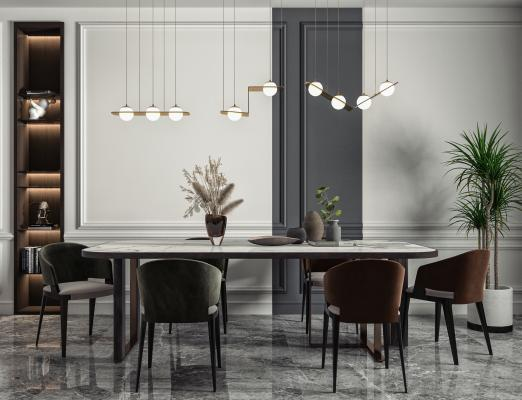 现代客厅 餐桌椅 方形餐桌