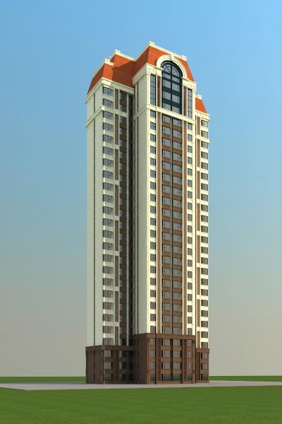 歐式高層住宅樓3D模型【ID:130862796】