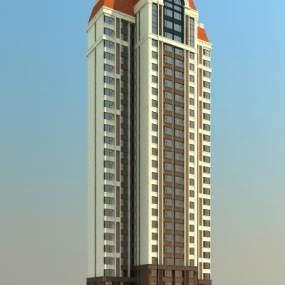 欧式高层住宅楼3D模型【ID:130862796】