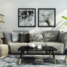 后现代沙发组合3D模型【ID:633511743】