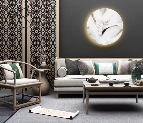 新中式沙发组合 装饰 隔断