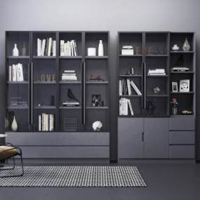 现代书柜 3D模型【ID:142189509】