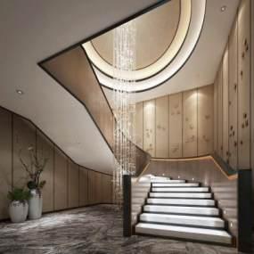 现代楼梯间3D模型【ID:744863688】