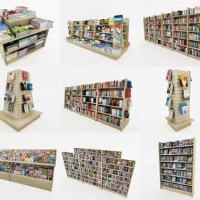 书架书柜组合3D模型【ID:133510535】