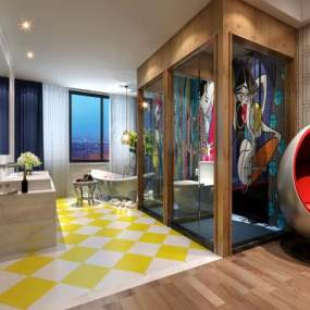 现代酒店客房3D模型【ID:753373307】