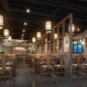 新中式餐厅3D模型【ID:633438203】