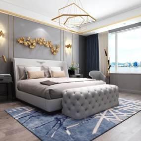 北欧卧室主人房空间3D模型【ID:531783268】
