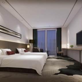 新中式酒店双标客房3D模型【ID:747408364】