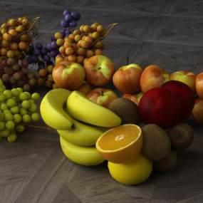 水果葡萄香蕉菠萝3D模型【ID:232171866】