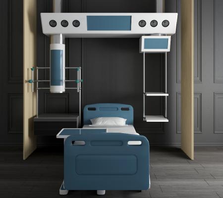 现代医院病床设备3D模型【ID:944344064】