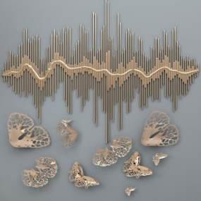 现代金属墙饰挂件组合3D模型【ID:236034702】
