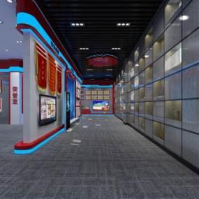 现代科技感消防队荣誉室展厅3D模型【ID:952824795】