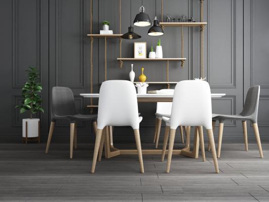 北歐餐桌椅麻繩層板裝飾柜組合3D模型【ID:740649141】